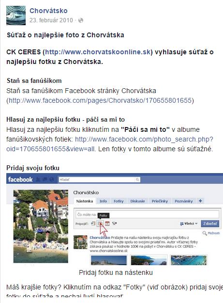 Facebook súťaž v 2010